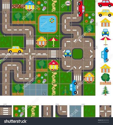 town layout game map layout streets small town easy stock vector 89059933