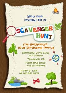 scavenger hunt birthday invitations candles and favors