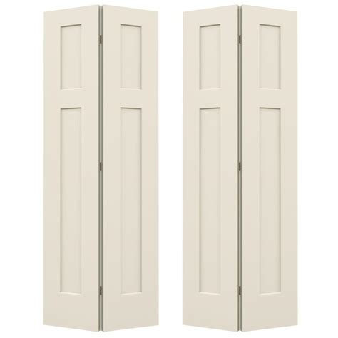 Jeld Wen 72 In X 80 In Smooth 3 Panel Craftsman Hollow 72 Closet Doors