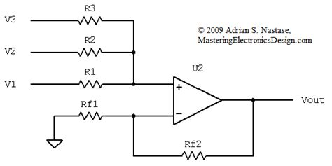function of resistor in lifier the transfer function of the non inverting summing lifier with n input signals mastering