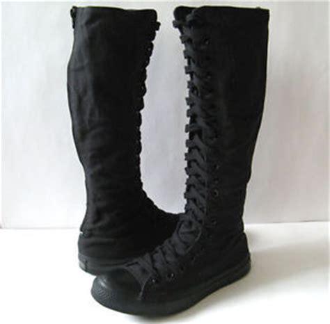 chuck converse all black knee high zipper