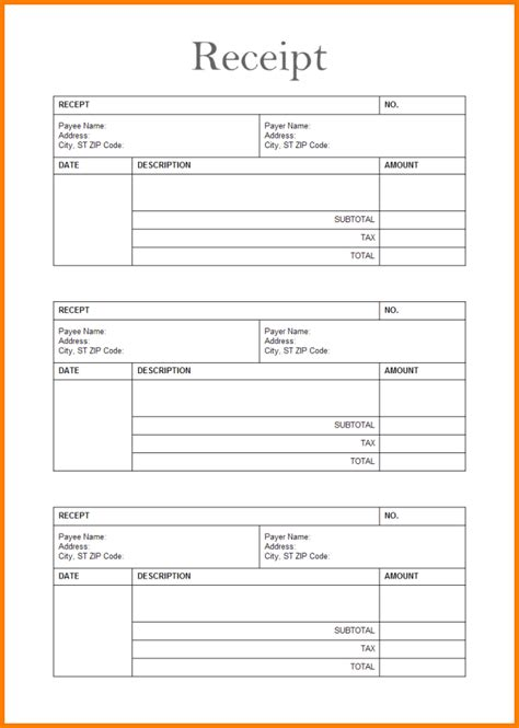 generic receipt template free receipt templates free word general general receipt