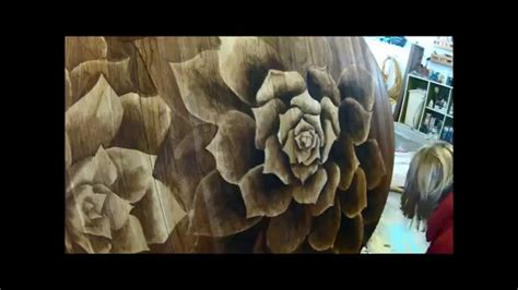 wood stain artwork  dining table succulents shading