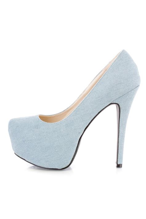 blue platform high heels light blue platform high heels denim