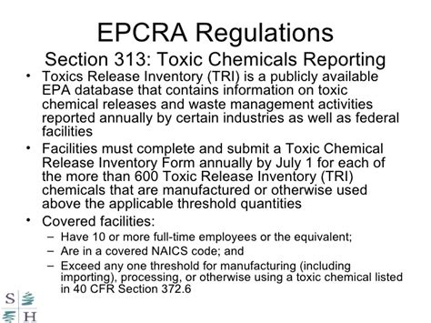 epcra section 313 hazardous substances laws and regulations