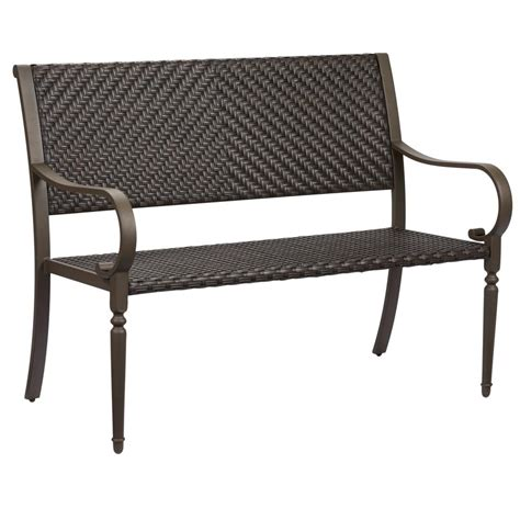 bench outdoor furniture hton bay commack brown wicker outdoor bench 760 008 000