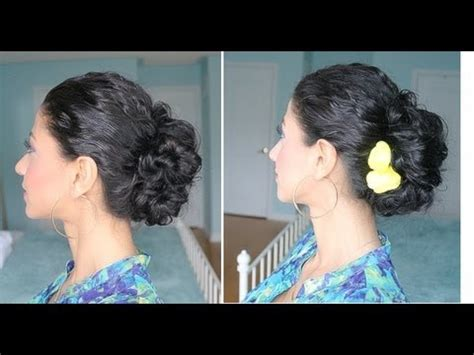 hairstyles you can do at home youtube curly hair messy bun youtube