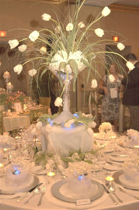In Table Decorations by Arctic Winter Wedding Theme Wedding Table Decorations