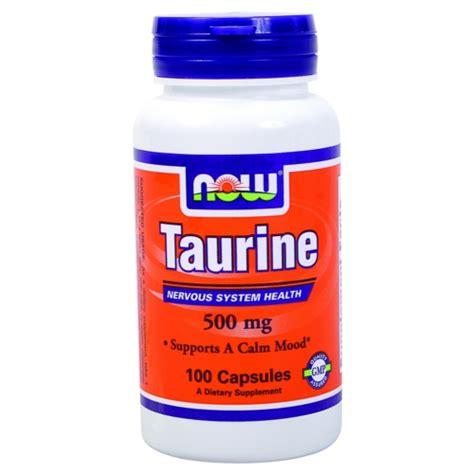 taurina alimenti taurine 500 mg 100 cps now foods