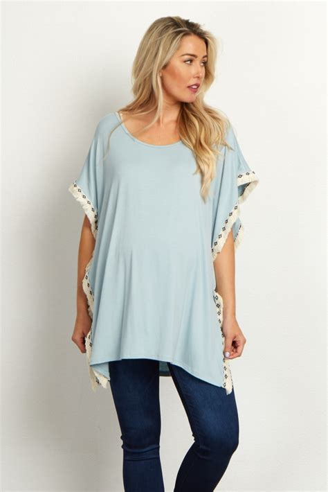 Fringed Trim Top light blue tribal fringed trim poncho maternity top