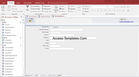 Access Search Student Database Design Exle Templates For Microsoft Access 2013 And 2016 Access