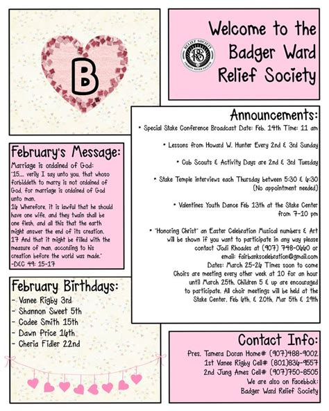 february newsletter template february rs newsletter template lds relief society pinterest newsletter templates and