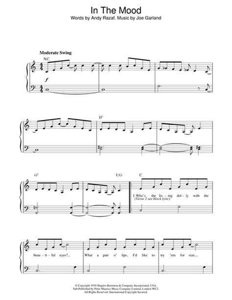 tutorial piano in the mood in the mood sheet music by glenn miller piano 18625