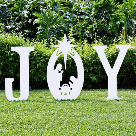 wooden joy christmas yard sign nativity yard sign yard