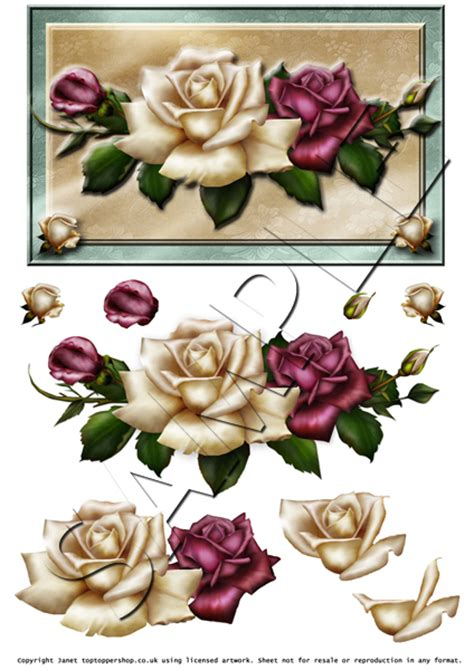 3d Decoupage Free Downloads - antique roses decoupage digital