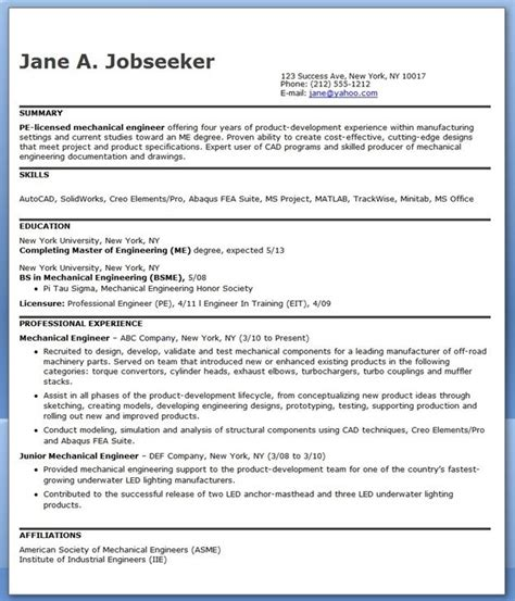 resume exles pdf engineering mechanical engineering resume sle pdf experienced creative resume design templates word