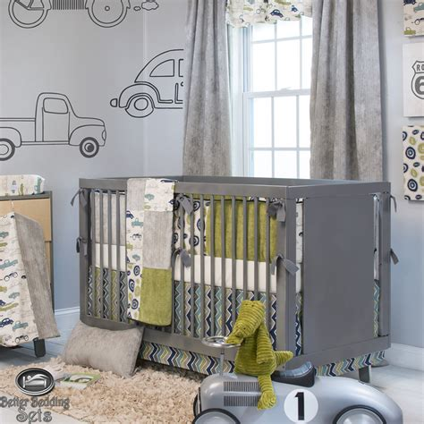 Baby Boy Grey Vintage Car Truck Route 66 Crib Nursery Boy Baby Crib Bedding