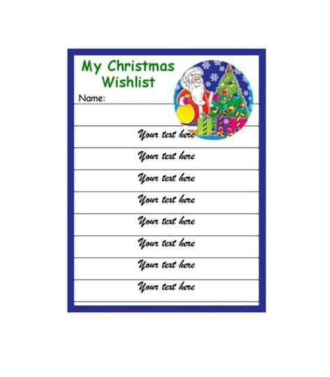 43 Printable Christmas Wish List Templates Ideas Template Archive Wish List Template