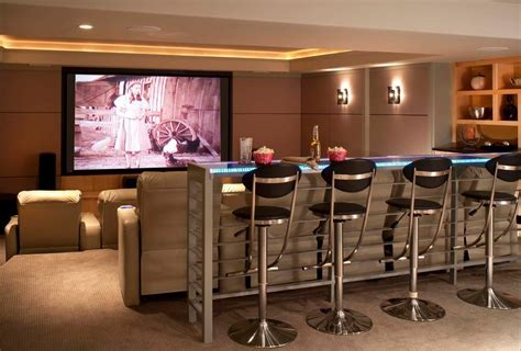 comfortable bar stools home theater contemporary  cove lighting midcentury counter height
