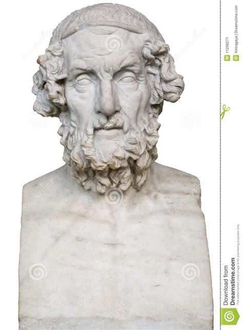 wit marmeren standbeeld van de griekse dichter homerus