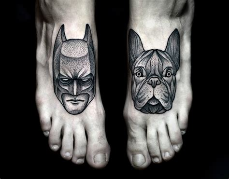Batman Dog Tattoo | batman and dog feet tattoos inkedcollector