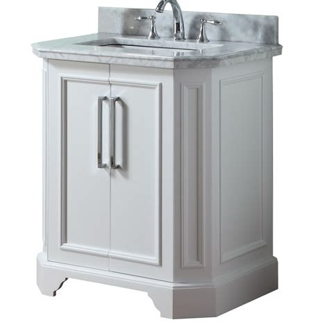 Vanities For Bathrooms Lowes Shop Allen Roth Delancy White Undermount Single Sink Bathroom Vanity With Marble Top