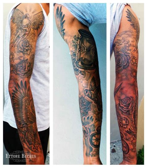 rose cloud tattoos fullsleeve by ettore bechis tattoos