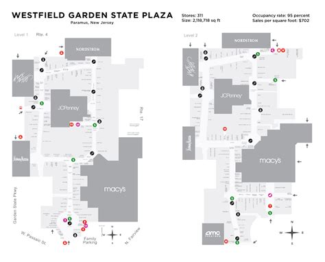 Garden State Mall Map by Garden State Plaza Map Vegas Casino Map Turner Field Map