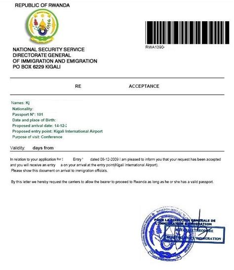 Acceptance Letter For Residency Eregulations Rwanda