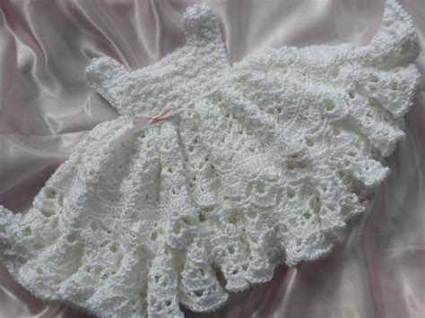 crochet pattern pink girl dress white crocheted baby girl dress with full by everythingswhite