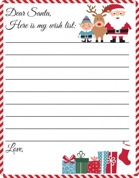 Free Printable Letter To Santa Template Cute Christmas Wish List Xmas Letters Pinterest List Letter Template