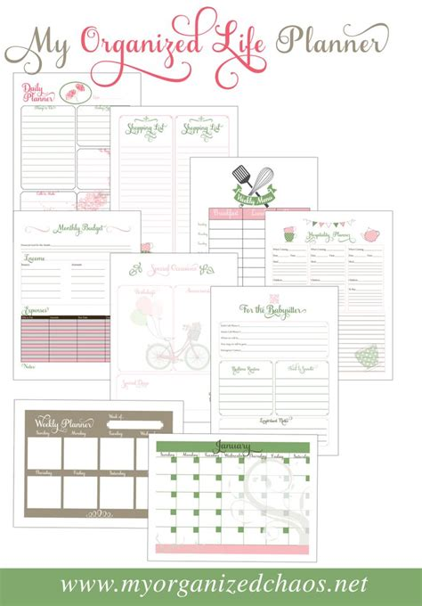 printable life planner my organized life printable planner homemaking gratis