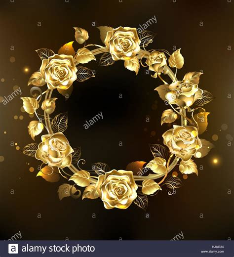 how to make vintage jewelry wreath of gold jewelry roses on a black background
