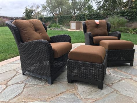 Outdoor Rattan Armchairs by Pair Of Outdoor Faux Wicker Armchairs With Ottomans