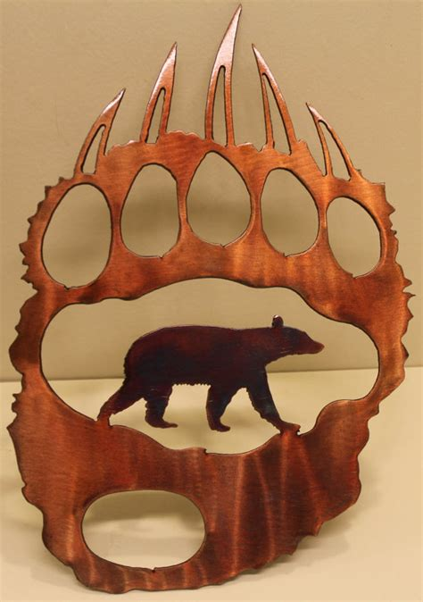 bear decorations for home bear track with bear metal wall art home decor
