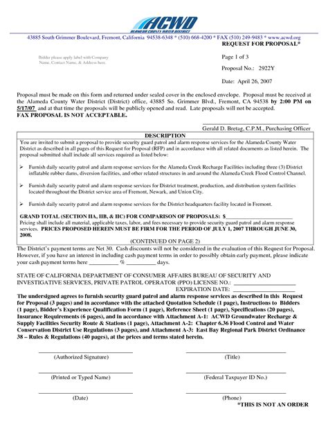 8 best images of security proposal letter from company