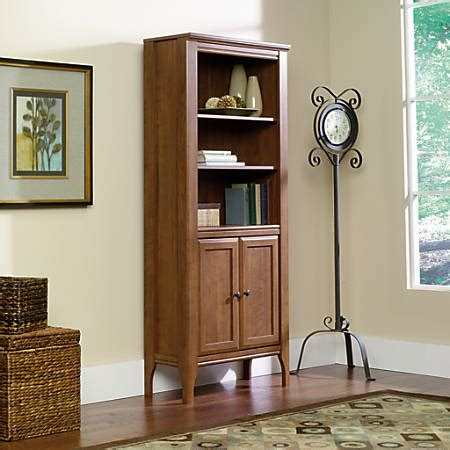 sauder bookcase with doors sauder appleton library bookcase with doors 5 shelves sand