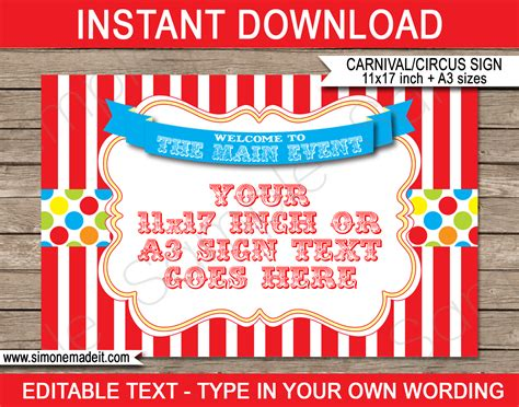 concession card template carnival printables circus printables
