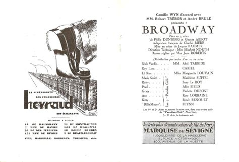 Program Theatre De La Madeleine Quot Broadway Quot 1928 29 Ebay Theatre Program Template