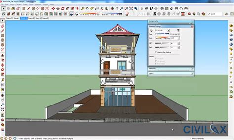 flat house design and render using google sketchup civil