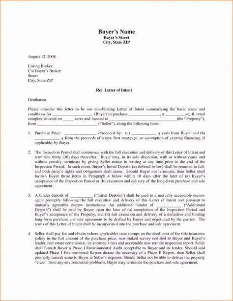 letter of intent real estate commercial real estate letter of intent template sle format
