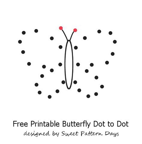 printable dot to dot butterfly cute butterfly dot to dot printable kids pinterest