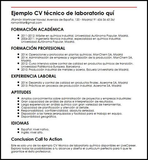 Modelo Curriculum Vitae Quimico Ejemplo Cv Tecnico De Laboratorio Quimico Micvideal