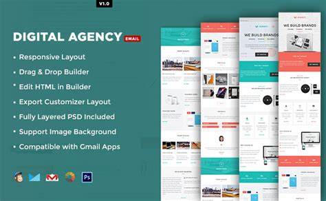 Digital Agency Template 10 Foremost Multipurpose Responsive Email Templates