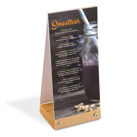 Acrylic Menu table top sign holders plastic display stand
