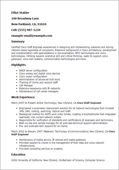 senior cisco network engineer exle resume professional cisco voip engineer templates to showcase your talent myperfectresume