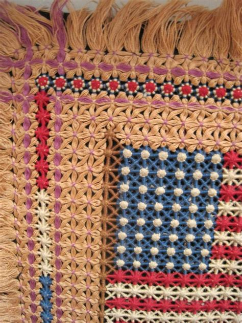how to make a macrame rug usa flag embroidery macrame hooked mounted rug