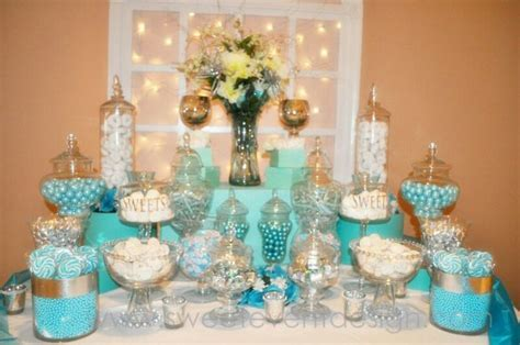 Aqua candy buffet table   Wedding ideas   Pinterest