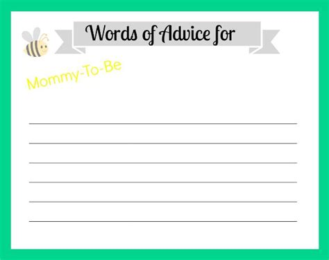 to be advice cards template free printable advice cards for baby shower template