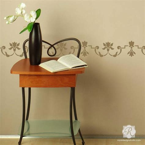 floral borders for living room wall stencils paint ideas moroccan petite mughal border stencil royal design